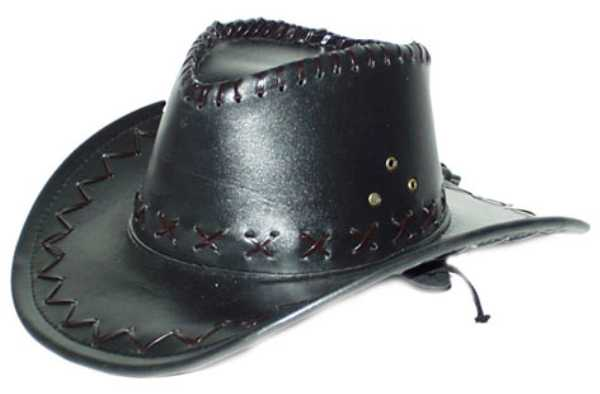 Chapeau cowboy Leather look  simili cuir  marron