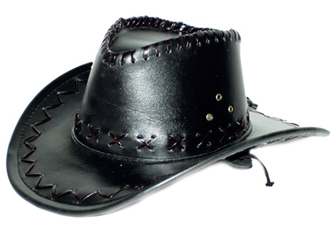 Chapeau cowboy Leather look  simili cuir noir