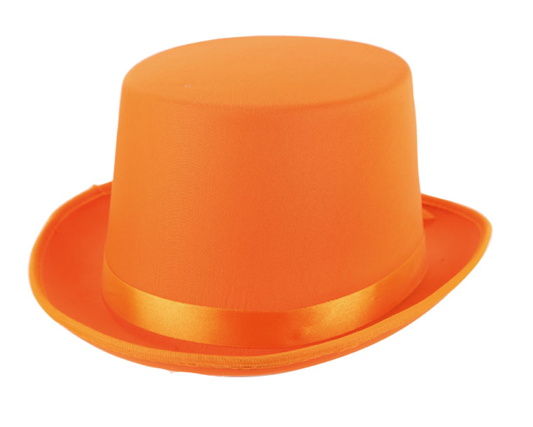 Chapeau haute forme orange