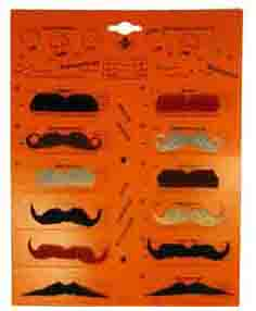 Lot de 12 Moustache noir / marron / gris / roux