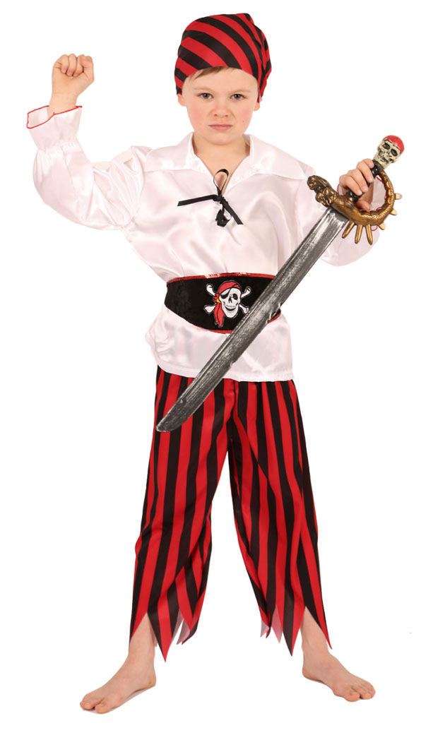Deguisement Pirate Rouge/Blanc taille 104 cm
