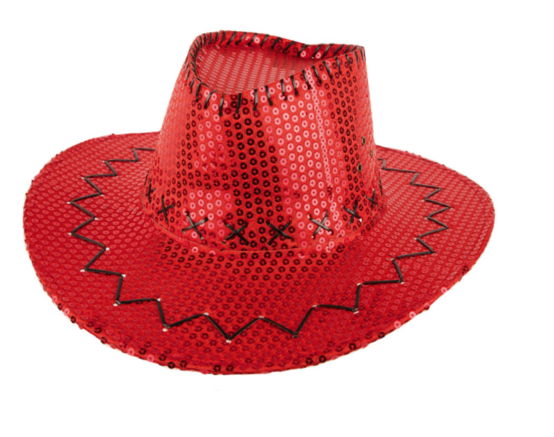 Chapeau cow boy sequin rouge